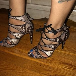 Zara snakeprint lace up ankle booties